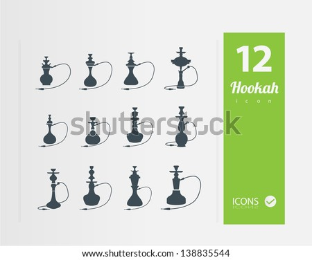 Hookah icons ( Set of 12 Quality icon ) - stock vector
