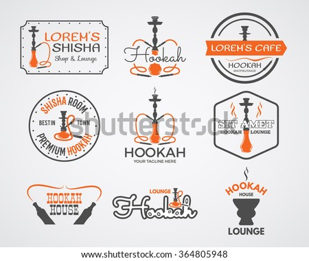 Hookah labels, badges and design elements collection. Vintage shisha logos set. Lounge cafe emblems.  Best for relax Arabian bar or house, shop. Isolated vector illustration. - stock vector