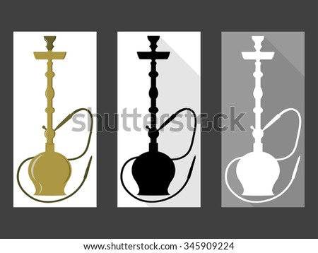 Hookah. Set of black and white hookah. Flat style. - stock vector