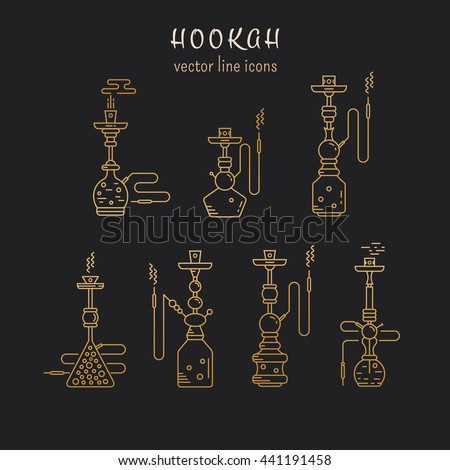 Hookah vector linear icons illustration. Set of gold hookah vector icons isolated on black background. Hookah vector golden  line collection. Smoking hookah vector  - stock vector