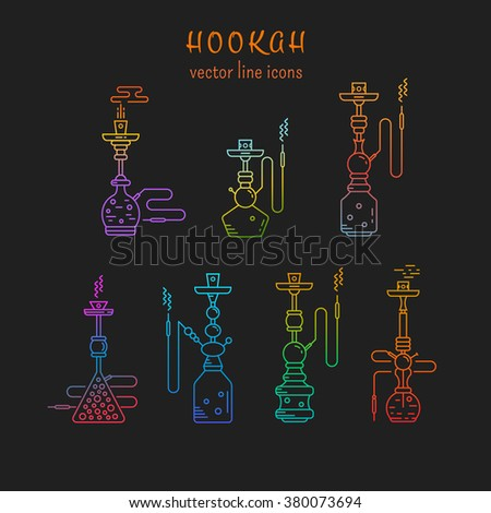 Hookah vector linear icons illustration. Set of hookah vector icons isolated on black background. Hookah vector line logo collection. Smoking hookah vector  - stock vector