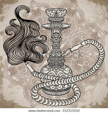 Hookah with oriental ornament and smoke over ornate mandala on aged paper background.Vintage vector hand drawn illustration - stock vector