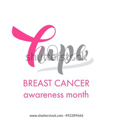 Hope Pink Ribbon Symbol Breast Cancer Stock Vector 492289666