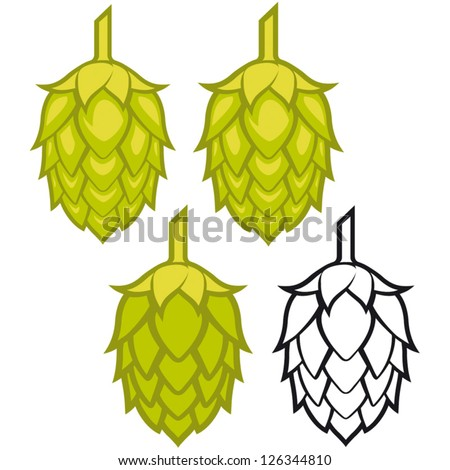 Hops vector visual graphic icons or logos, ideal for beer, stout, ale, lager, bitter labels & packaging  etc. - stock vector
