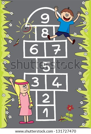 Hopscotch. Fully, easily editable vector illustration that can be used at any size. Included files: EPS10, JPG. No gradients, no transparencies. - stock vector