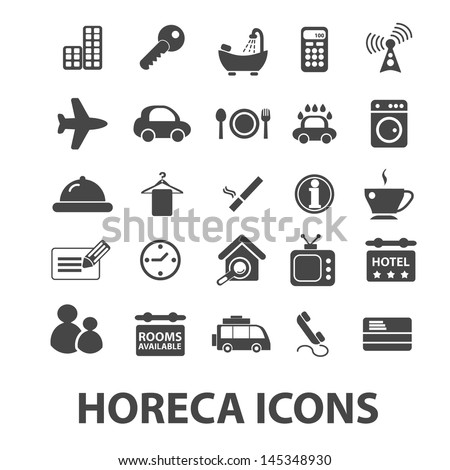 horeca: hotel, restaurant, cafe icons, signs set, vector - stock vector