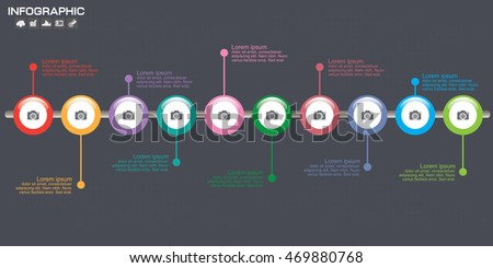 Horionztal timeline infographics template 10 options, icons and text, vector eps10 illustration