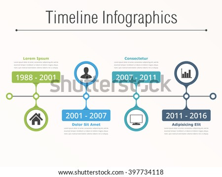 Horionztal timeline infographics template with dates, icons and text, vector eps10 illustration - stock vector