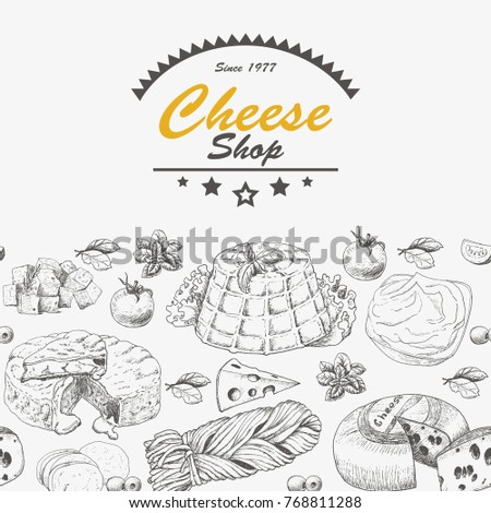 Horizantal background with cheese products. Vector illustration for your design