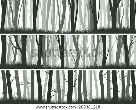 Horizontal abstract banners misty forest with trunks of trees. - stock vector