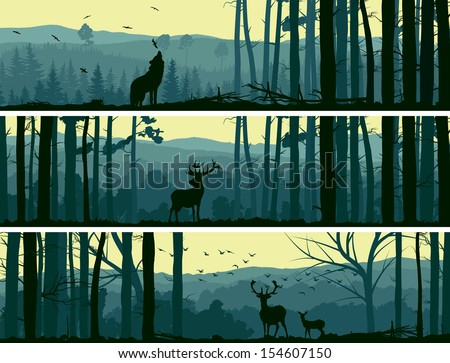 Horizontal abstract banners of wild animals (deer, wolf) in hills of forest with trunks of trees in green tone. - stock vector