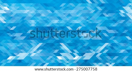 Horizontal abstract blue triangle geometrical seamless background. Vector illustration - stock vector