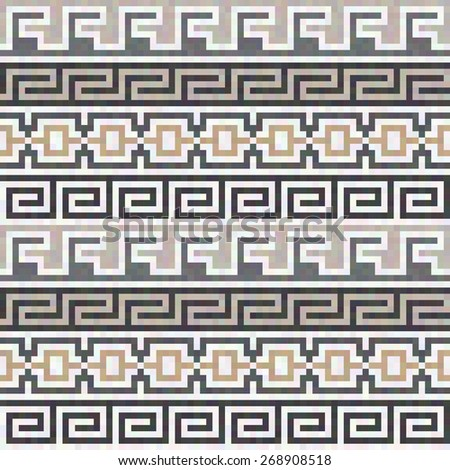 Horizontal abstract geometric seamless ancient Greek pattern  - stock vector