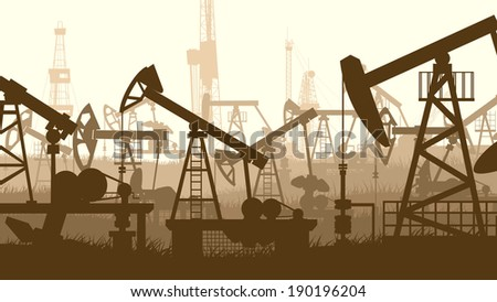 Horizontal abstract illustration of large number oil pumping units. - stock vector