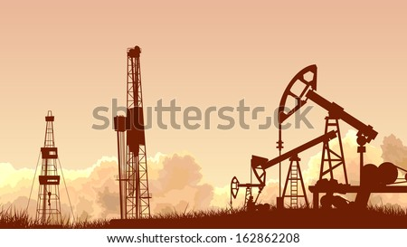 Horizontal abstract illustration of sunset sky with silhouettes of units for oil industry (oil pump). - stock vector