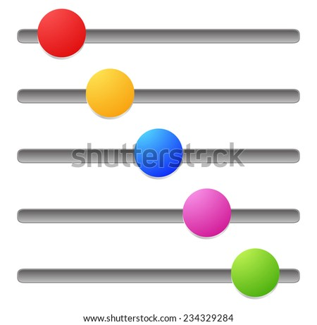 Horizontal adjust bars, sliders. - stock vector