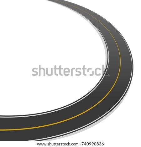 horizontal asphalt arch road top view stock vector royalty free