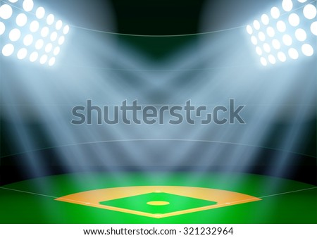 Horizontal Background for posters night baseball stadium in the spotlight. Editable Vector Illustration. - stock vector