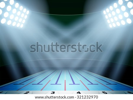 Horizontal Background for posters night swimming pool stadium in the spotlight. Editable Vector Illustration. - stock vector