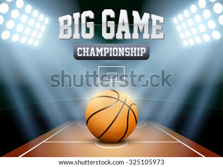 Horizontal Background night basketball stadium in the spotlight with big ball. Editable Vector Illustration.