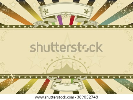 Horizontal background retro party. A horizontal retro background with multicolor sunbeams and a frame for your message - stock vector