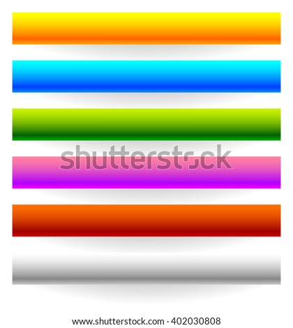 Horizontal banner, button templates with bigger shadow - stock vector