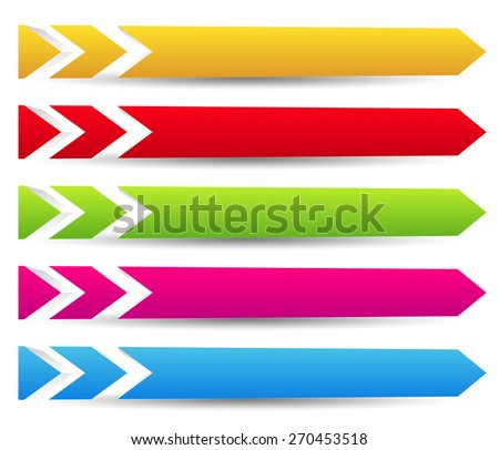 Horizontal banner templates with blank space for your message. 3d banners with arrows, arrowheads in angular fashion. (Slight spatial effect with perspective) - stock vector