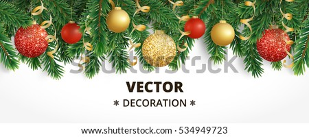 Horizontal Banner Christmas Tree Garland Ornaments Stock Vector ...