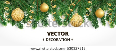 Horizontal banner with christmas tree garland and ornaments. Hanging golden glitter balls and ribbons. Great for flyers, posters, headers. Vector illustration