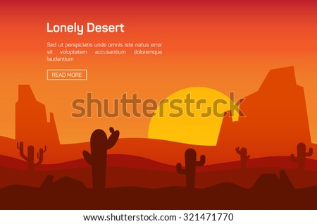 Horizontal banner with lonely desert isolated vector illustration - stock vector