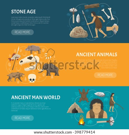 Horizontal banners about life ancient man and animals in prehistoric stone age isolated vector illustration - stock vector