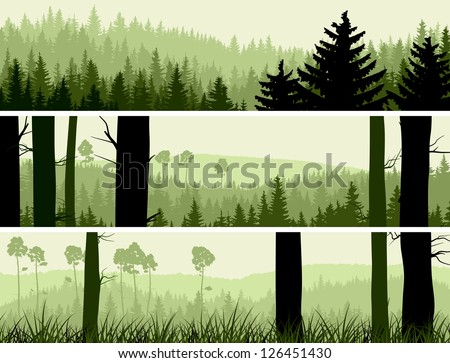 Horizontal banners of hills of coniferous wood in green tone. - stock vector