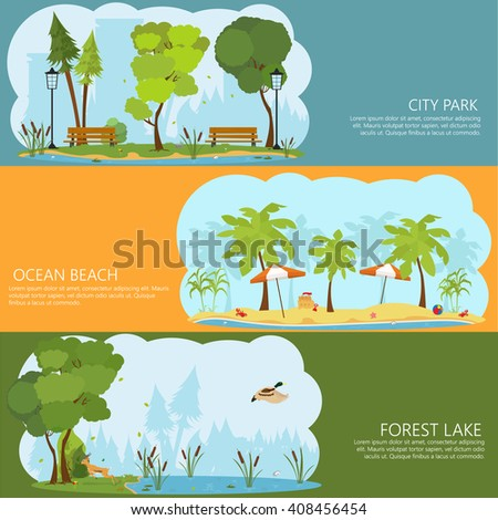 horizontal banners on the theme of landscapes of nature. Forest Lake. ocean shore. City Park. shore of a tropical island. swamp forest. vector. city park with benches. Green Park Holiday. - stock vector
