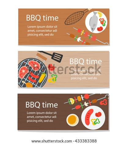 Horizontal banners set with grill top view, bbq food set and kitchen utensils, vector illustration - stock vector