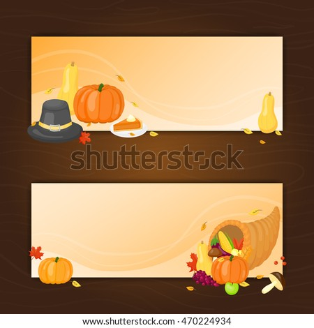 Horizontal banners with cartoon items for Thanksgiving day celebration.