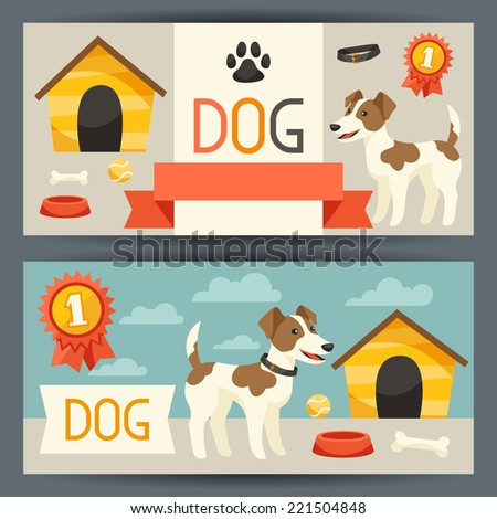 Horizontal banners with cute dog, icons and objects. - stock vector
