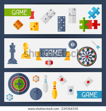 Horizontal banners with game icons in flat design style. - stock vector