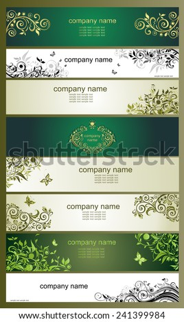 Horizontal banners with vintage floral design - stock vector