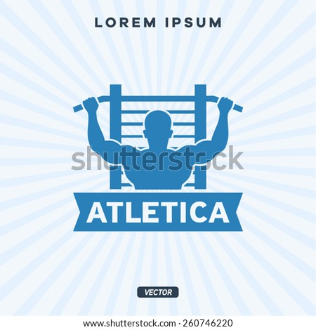 Horizontal bar, athlete, pulling - stock vector