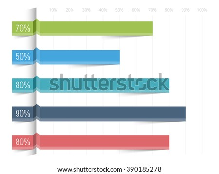 Horizontal bar graph template with percents, vector eps10 illustration
