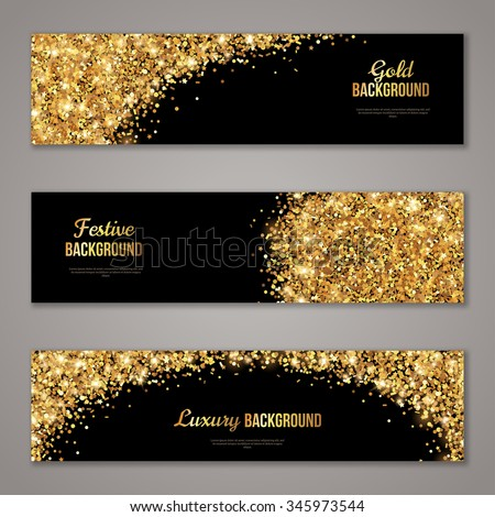Horizontal Black and Gold Banners Set, Greeting Card Design. Golden Dust. Vector Illustration. Happy New Year and Christmas Poster Invitation Template. Place for your Text Message. - stock vector