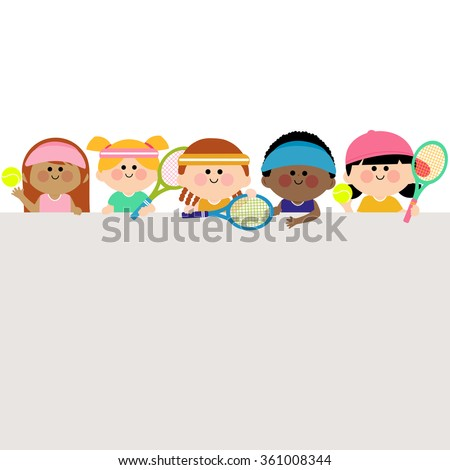 Horizontal blank banner and kids tennis players. - stock vector