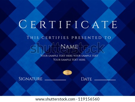 Horizontal blue certificate of completion template with abstract pattern. This design usable for diploma, invitation,  gift voucher, coupon or different awards. Vector - stock vector