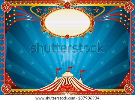 Horizontal Blue circus background. Horizontal circus background for your show. - stock vector