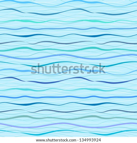 Horizontal blue wavy stripes and lines. Retro seamless pattern