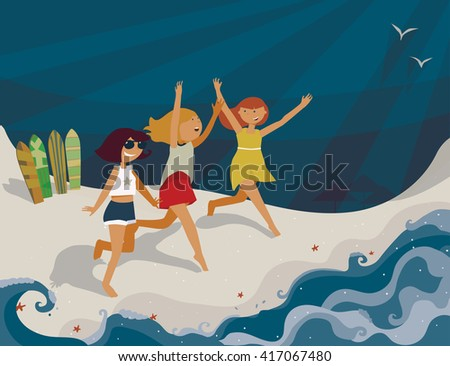 Horizontal bright illustration with young girls going to the sea. Vector image, with surf boards, sea, fun and happy girls. Blue sun, shadows and starfish on sand. Girls running with hands up, smiling - stock vector