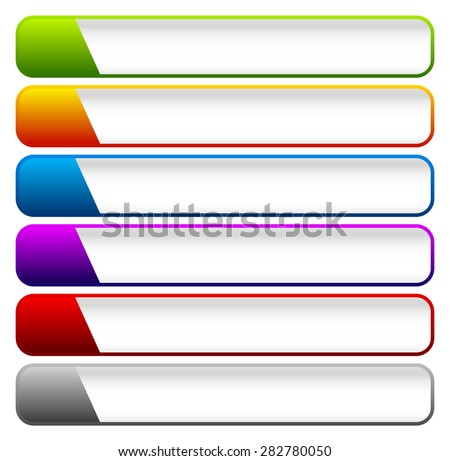 Horizontal buttons with blank space, rounded colorful button, banner backgrounds. - stock vector