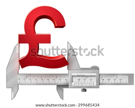 Horizontal caliper measures pound symbol. Concept of measuring size of money sign. Qualitative vector illustration for banking, financial industry, economy, accounting, etc - stock vector