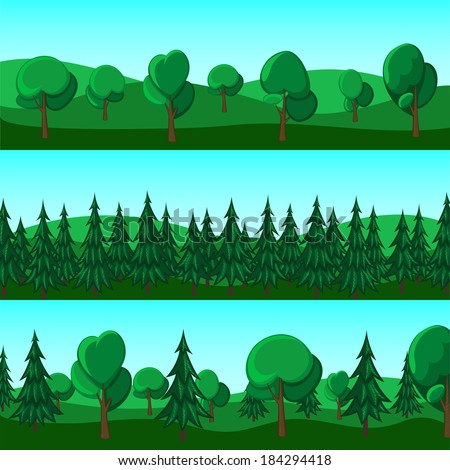 Horizontal cartoon banners of hills and trees - stock vector