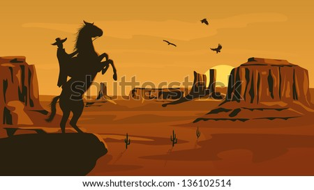 Horizontal cartoon illustration of prairie wild west with cacti and hero of the wild West leaves in decline. - stock vector
